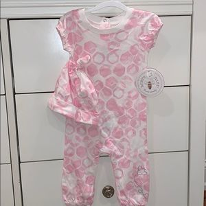 NWT Burt's Bees Baby Coverall & Hat Set
